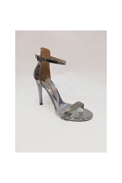 PUNTO Kadın Gümüş Taşlı Tek Bant Ayakkabı Öa451