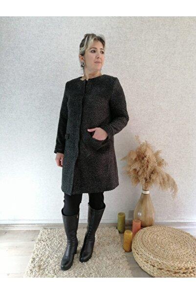 Femina Kadın Siyah Cebi ve Kolu Boncuk İşli Buklet Ceket