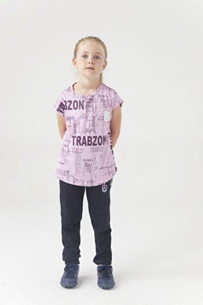 Trabzonspor Kız Çocuk Pudra Bisiklet Yaka Baskılı Delikli Tshirt