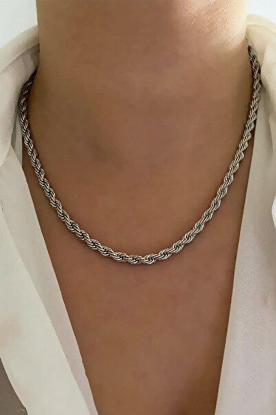 CosiBella Unisex Gümüş Renk Kalın Uzun Çelik Burgu Zincir