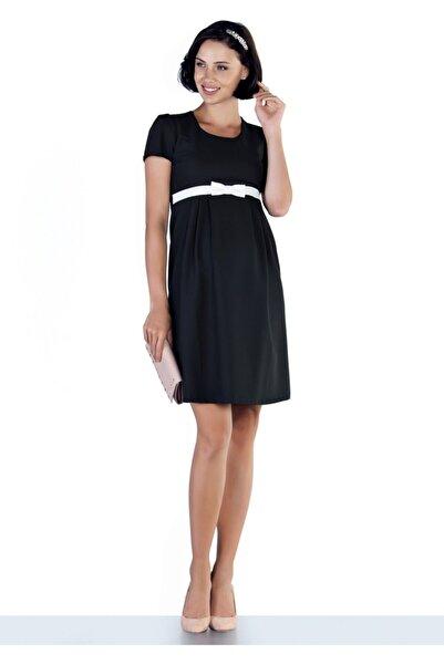 Ebru Maternity Kadın Siyah Fiyonklu Hamile Elbise