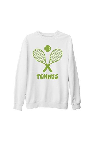 Lord T-Shirt Unisex Beyaz Tenis Baskılı Kalın Sweatshirt
