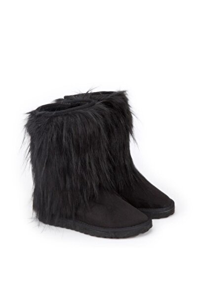 Antarctica Boots Kürk Detaylı Içi Kürklü Eva Taban Süet Siyah Çocuk Bot Atkodps507s