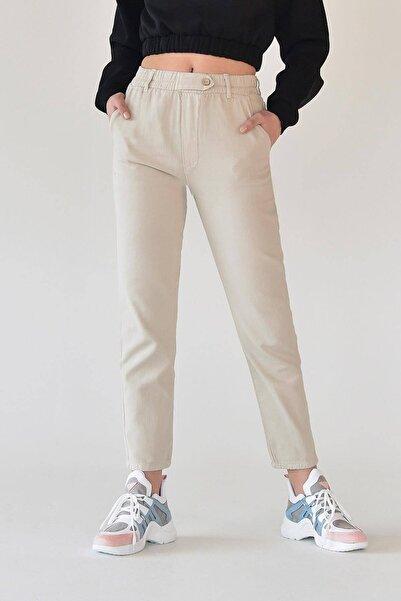 Addax Kadın Taş Düğme Detaylı Pantolon Pn4191 - Pni ADX-0000021486