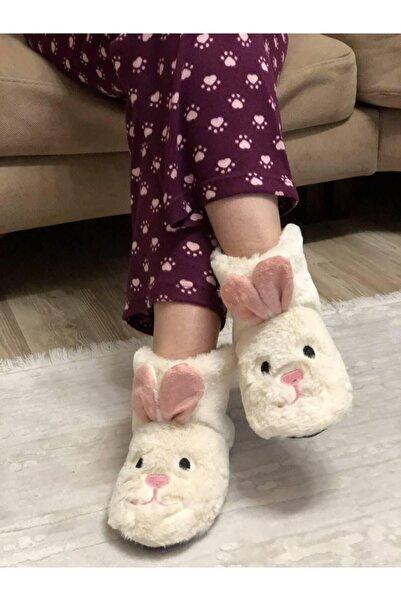 Efolle Kadın Krem Tavşan Modelli Ev Panduf