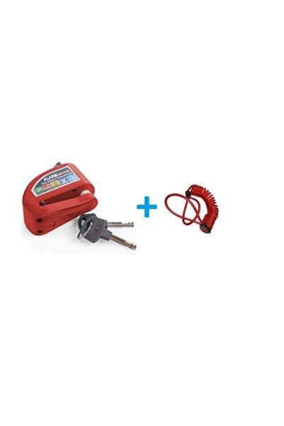 RMG Motosiklet Alarmlı Disk Kilidi 110 Db Kırmızı + Hatırlatma Kablosu