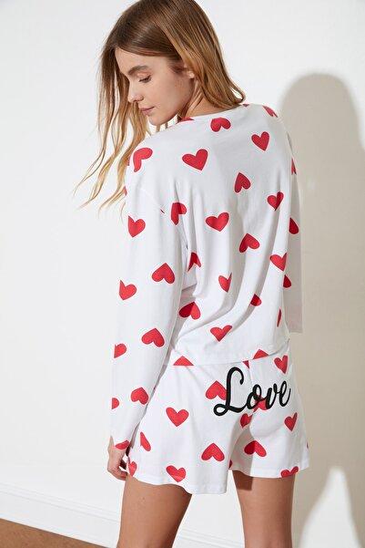 TRENDYOLMİLLA Kalp Baskılı Örme Pijama Takımı THMSS21PT0471