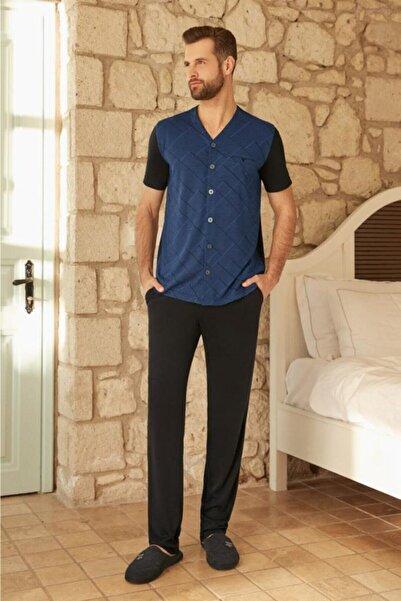 Eros 26020 Kısa Kol Boydan Düğmeli Erkek Pijama Takım