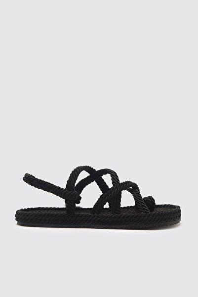 TRENDYOLMİLLA Siyah Hasır Halat İpli Kadın Sandalet TAKSS21SD0002