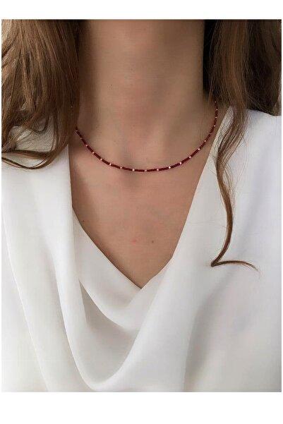 Serpil Jewellery Kadın Bordo Afgan Boncuklu Tasarım Kolye