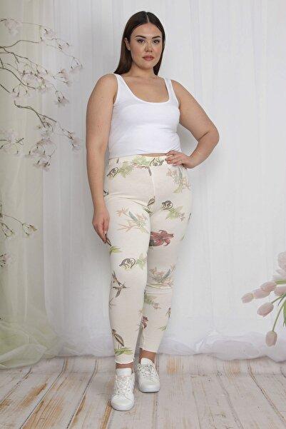 Şans Kadın Renkli Desenli Tayt Pantolon 65N22562