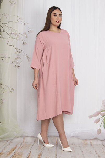 Şans Kadın Pudra Yan Göğüs Pileli Kup Detaylı Elbise 65N22486