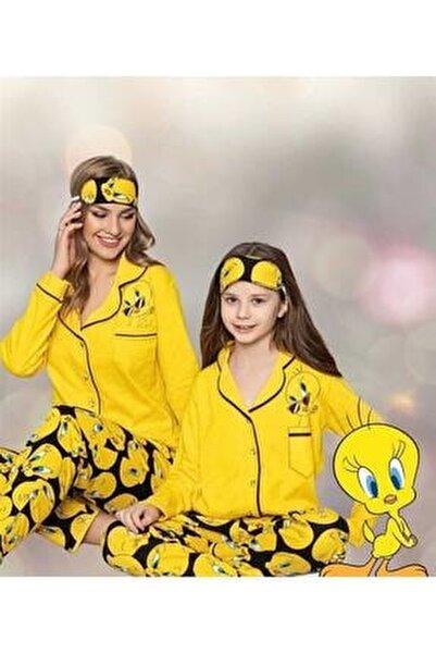 Anne Kız Sarı Tweety Pijama Takımı Hllo1003