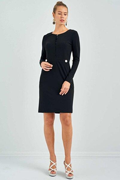 Ekol Kadın Siyah Sıfır Yaka Cepli Elbise 20K.EKL.ELB.01007.1