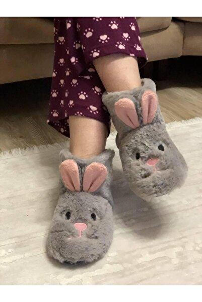 Efolle Kadın Gri Tavşan Modelli Ev Panduf