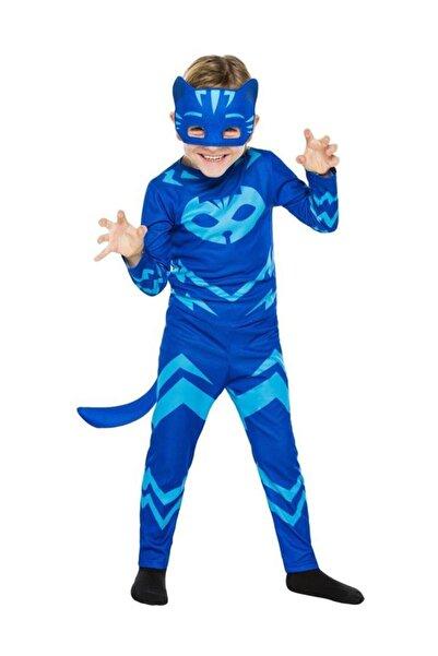 Kelebek Oyuncak Pijamaskeliler Kedi Çocuk Kostümü-mavi Catboy Kostümü