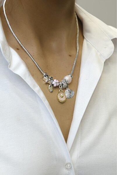 Marjin Kadın Pembe Boncuklu Deniz Kabuğu Figürlü Gümüş Renkli Kolyepembe
