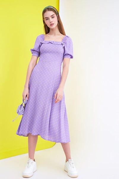 TRENDYOLMİLLA Lila Puantiyeli Elbise TWOSS21EL0511