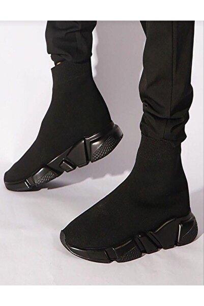 MİRKET Kadın Siyah Corap Kömür Taban Spor Sneakers