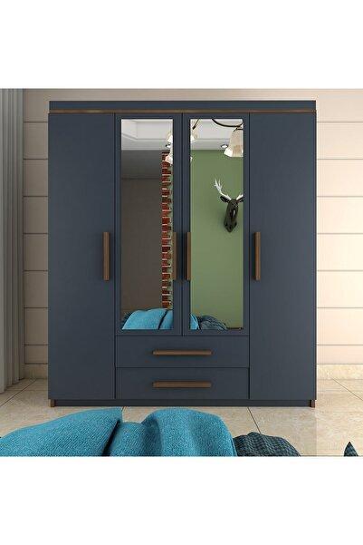 Metalia Gm815 Nisa Delüx 4 Kapı 2 Çekmeceli Aynalı Gardrop Ceviz-Antrasit Gri Dolap