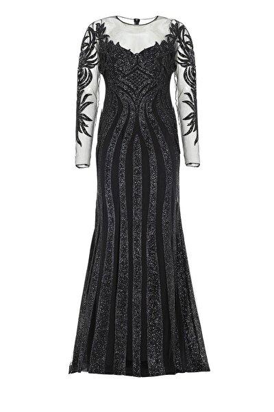 Abiye Sarayı Siyah Transparan Simli Uzun Abiye Elbise