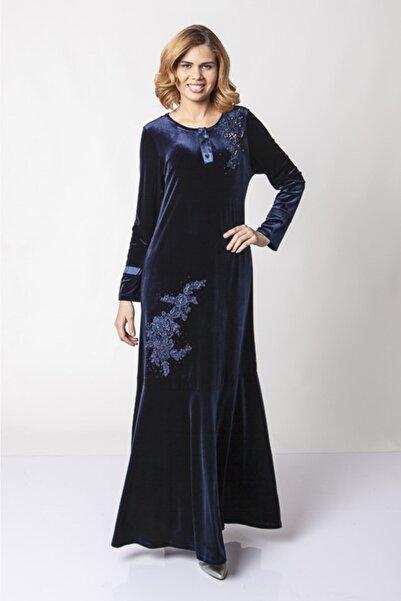 Güzey Kadın Lacivert Önü Düğmeli Dantel Işlemeli Kadife Uzun Elbise