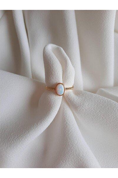 MİSSHİNG Beyaz Opal Taş Ayarlanabilir Yüzük