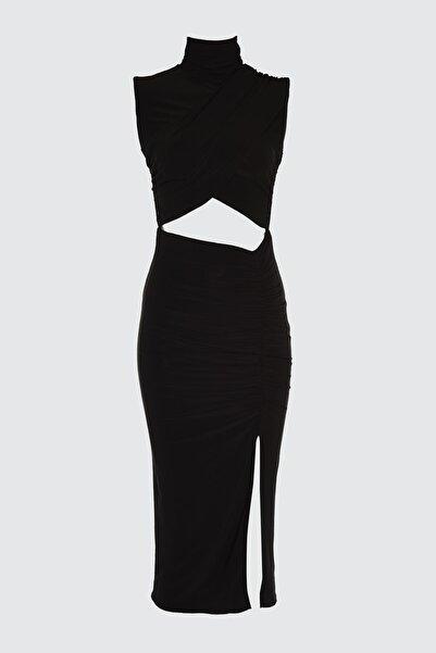 TRENDYOLMİLLA Siyah Bel Detaylı Elbise TPRSS21EL1398