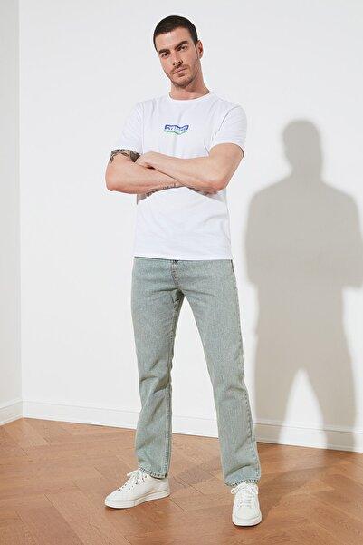 TRENDYOL MAN Açık Mavi Erkek Yeşil Tintli Straight Fit Jeans TMNSS21JE0049