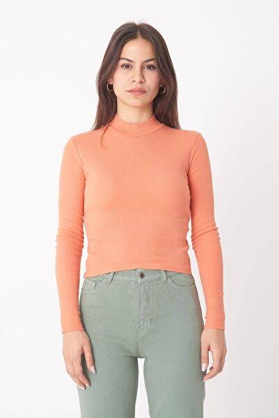 Addax Kadın Kayısı Uzun Kollu Bluz B1070 - U8 ADX-0000023027