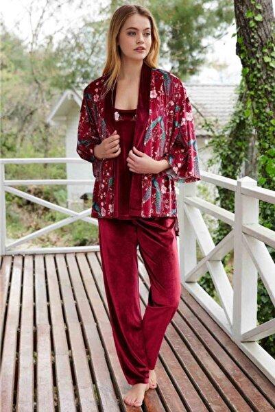Penyemood Penyo Mood Kadın Çiçekli Kadife Pijama Takım P-pm8401