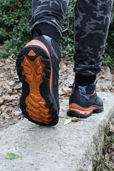 Rock & Roll Elite Özel Üretim Kamuflajlı Siyaha Turuncu Suya Ve Soğuğa Dayanıklı Trekking Ayakkabı