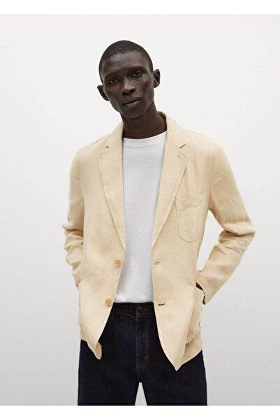 MANGO Man Keten Dar Kesim Blazer Ceket