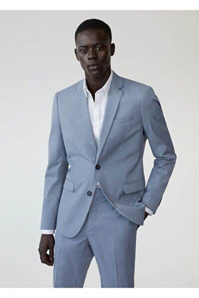 MANGO Man Erkek Mavi Süper Dar Kesimli Mini Dokuma Takım Blazer Ceket