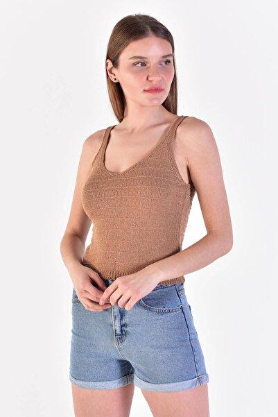 Addax Kadın Camel Askılı Triko Bluz T2063 - X3 ADX-0000019438