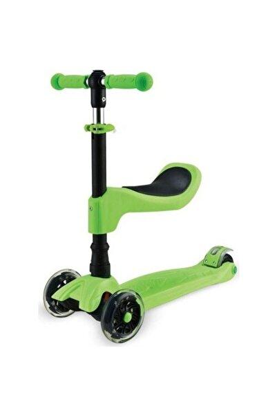 BabyHope Flt-199 Çocuk Scooter 2in1 Yeşil - Oturaklı Katlanır Led Işıklı