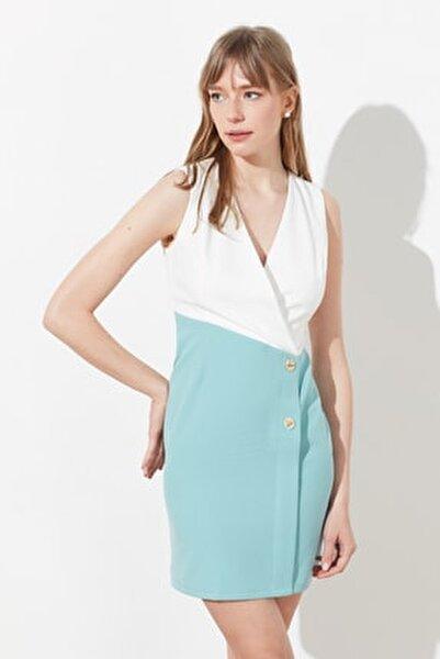 Mint Renk Bloklu Elbise TWOSS20EL0410