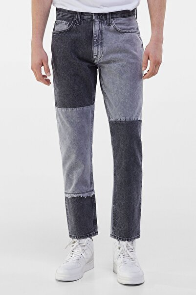 Bershka Erkek Gri Patchwork Slim Fit Jean