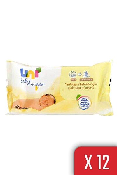 Uni Baby Yenidoğan Islak Pamuk Mendil 12'li