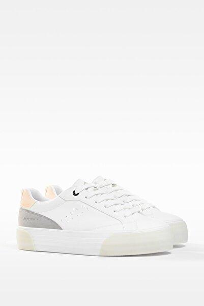 Bershka Kadın Beyaz Kontrast Platform Spor Ayakkabı