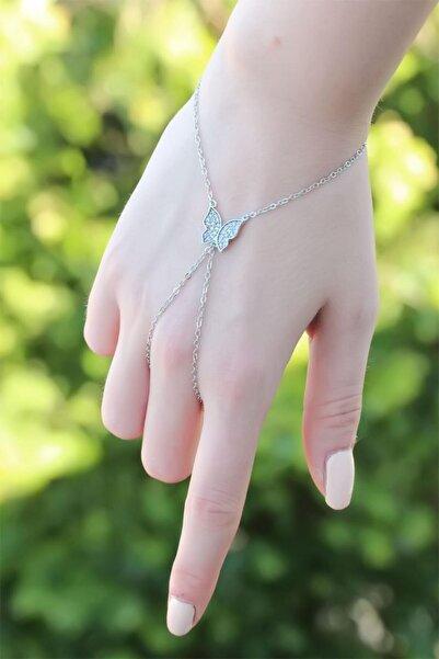 MOCOCO Kelebek Figürlü Zirkon Taşlı Silver Renk Şahmeran Bileklik