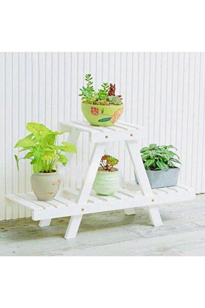 AHŞAP ATÖLYE Saksı Standı Raflı Dekoratif Çiçeklik Model1 Beyaz