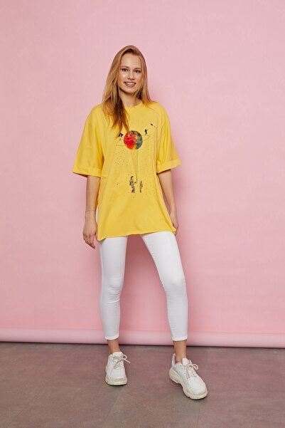 Arma Life Kadın Sarı Uzay Baskılı T-shirt