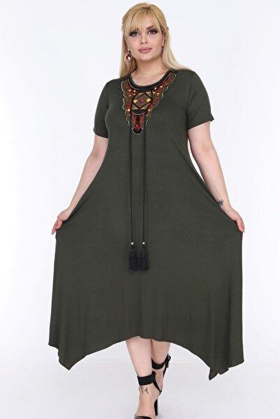 1fazlası Kadın Büyük Beden Haki Etnik Desen Detaylı Bohemian Tarz Elbise