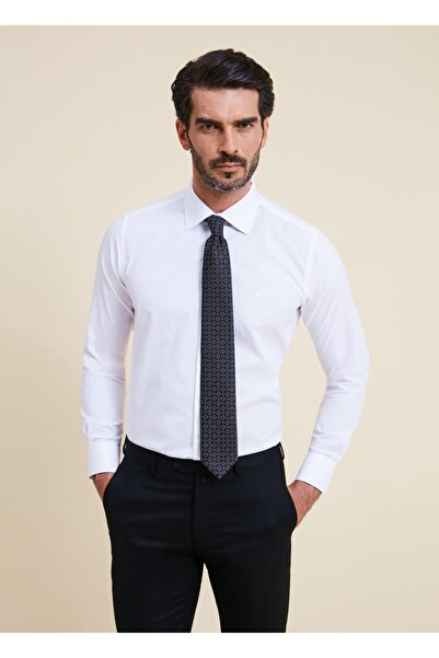 Bisse Erkek Beyaz Regular Fit Düz Klasik Gömlek