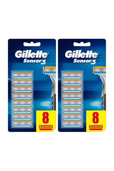 Gillette Sensor3 Erkek Tıraş Bıçakları, 8+8 Yedek Tıraş Bıçağı