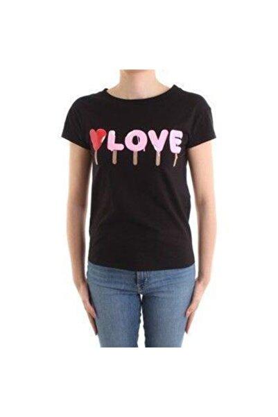 Love Moschino Kadın Siyah Love Baskılı T-shırt