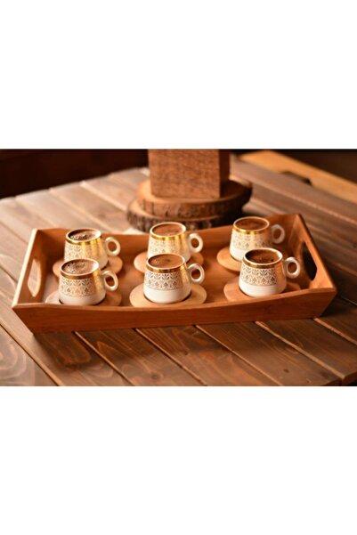 Bambum B0174 Ottoman - 6 Kişilik Kahve Fincan Takımı Seti Altın Desenli