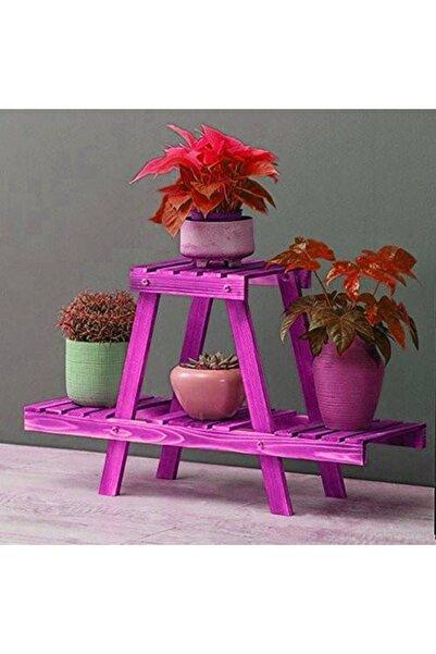 AHŞAP ATÖLYE Saksı Standı Raflı Dekoratif Çiçeklik Model1 Mor
