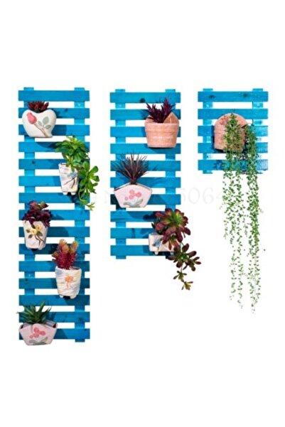 AHŞAP ATÖLYE Çiçeklik Saksılık Balkon Çiçeklik Mavi 3 Lü Set